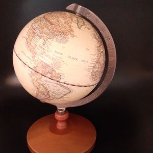 Desktop wood world globe